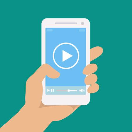 Illustration pour Picture of a hand holding a phone. Vector illustration. - image libre de droit