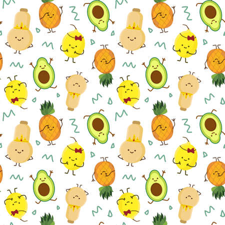 Illustration pour kawaii fruits seamless pattern set with face expression on dark purple color background vector illustration. Concept of joy and happiness. - image libre de droit