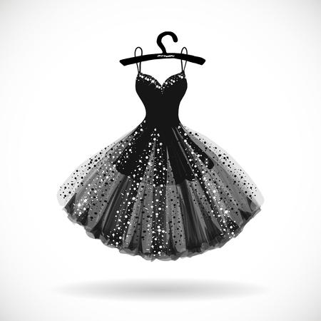 Ilustración de Shiny Little black dress hand drawn vector illustration. - Imagen libre de derechos