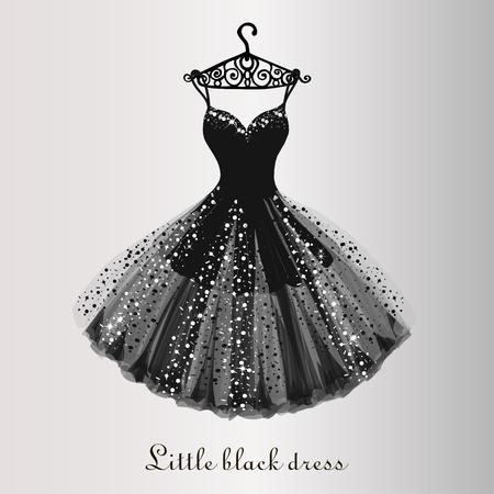 Illustration pour Chiffon little black dress hand drawn vector illustration - image libre de droit