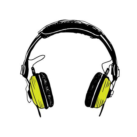 Ilustración de Color green headphones trendy illustration on white background - Imagen libre de derechos