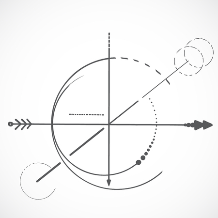 Illustration for Geometry scheme sacred line circle symbol on white background and arrow - Royalty Free Image