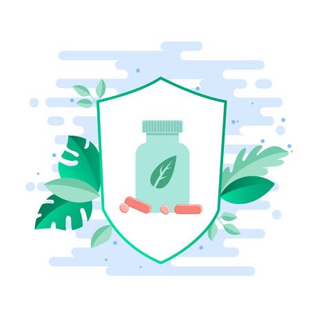 Illustration pour Probiotics benefits. Large bottle with a probiotics, vitamins against the background of medical plants. Vector - image libre de droit