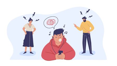 Illustration for Conflict with parents, father and mother scolding a teenage boy. A teenage boy ignores his parents. Children's misunderstanding with their families. Vector characters. - Royalty Free Image