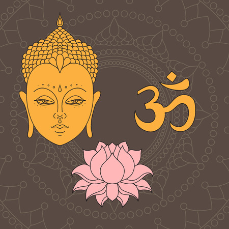 Head Of Buddha Om Sign Hand Drawn Lotus Flower Isolated Icons Of