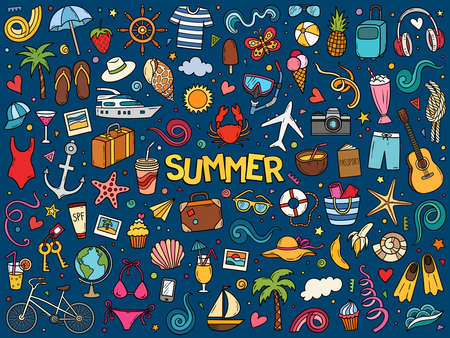 Illustration pour Colorful hand drawn vector doodle set of summer and vacation. Cartoon travel sketch illustration for postcard, banner, poster and etc. - image libre de droit
