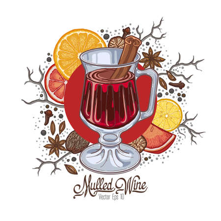 Mulled wine in the glass and components on a white background, spices and citrus.