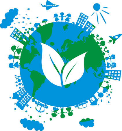 conceptual eco image of globe with icon of grass on