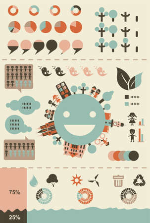 ecological infographics and charts in retro colours