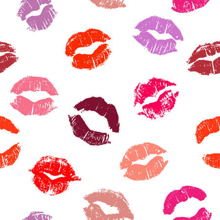 Illustration for Seamless pattern with lipstick kisses. Imprints of lipstick of red and pink shades isolated on a white background. Can be used for design of fabric print, wrapping paper or romantic greeting card - Royalty Free Image