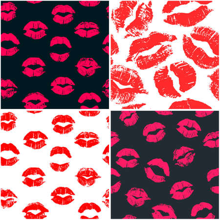 Set of 4 seamless patterns with lipstick kisses. Colorful imprints of real lipstick textures. Can be used for design of fabric print, wrapping paper or romantic greeting card
