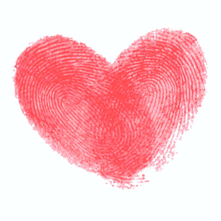 Ilustración de Creative poster with double fingerprint heart. Red realistic thumbprint isolated on white. For wedding, honeymoon, valentines day or romantic design. Qualitative trace of real finger print - Imagen libre de derechos