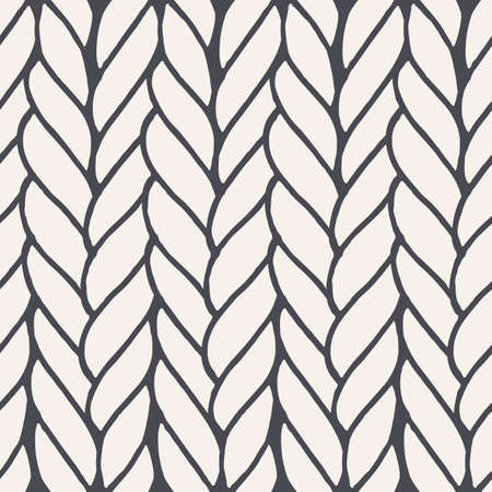 e954c90fa Decorative knitting braids seamless pattern. Endless hand drawn grey  stylized sweater fabric. Trendy stylish