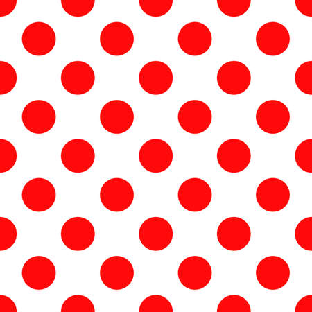 Seamless polka dot pattern. Trendy vintage style texture for backdrop. Endless classic red shapes on white background. Perfect for fabric design, wallpaper, wrapping