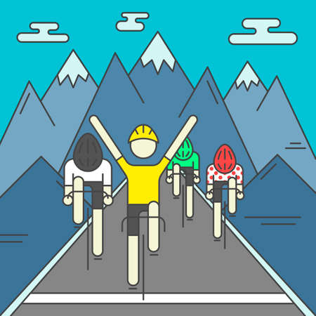 Modern Illustration of cyclists on finish line. Colorful bright bicyclists on rocky mountains background. For use as design element or poster. Bicycle racers made in trendy flat style vector.