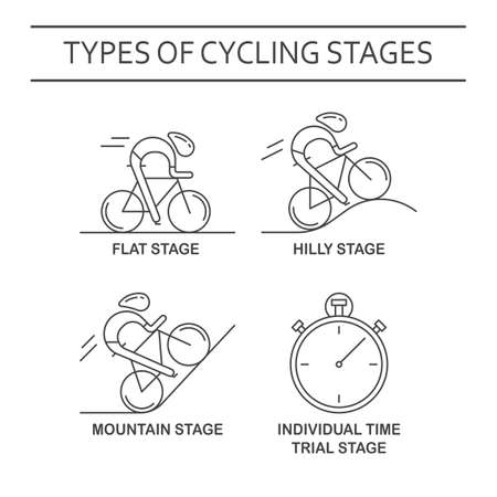 Set of 4 linear icons of cycling race stage types. Black outline infographics templates isolated on white background. Bicyclists and stopwatch made in trendy thin line style vector.