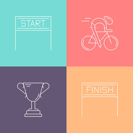 Set of 4 cycling race linear icons. White outline templates isolated on colorful background. Bicycle championship elements made in trendy thin line style vector.