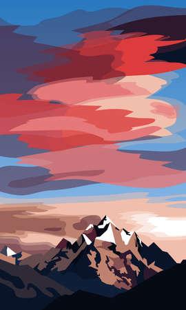 Illustration pour A picture of mountains against the rising sun - image libre de droit