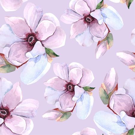 Photo pour Seamless watercolor romantic floral pattern - image libre de droit