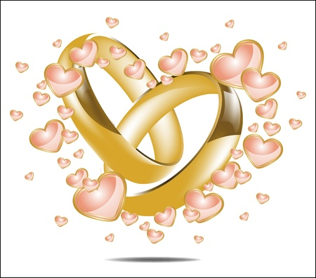 Illustration with wedding rings and Hearts