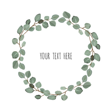 Ilustración de Floral wreath with green eucalyptus leaves. Frame border with copy space. - Imagen libre de derechos