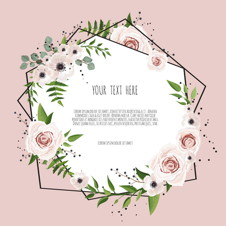 Illustration pour Geometric botanical vector design frame. Natural spring wedding card. All elements are isolated and editable - image libre de droit