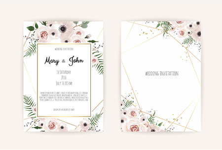 Ilustración de Vector invitation with handmade floral elements. Wedding invitation cards with floral elements. Vector template set - Imagen libre de derechos