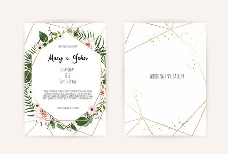 Foto de Vector invitation with handmade floral elements. Wedding invitation cards with floral elements. Vector template set - Imagen libre de derechos