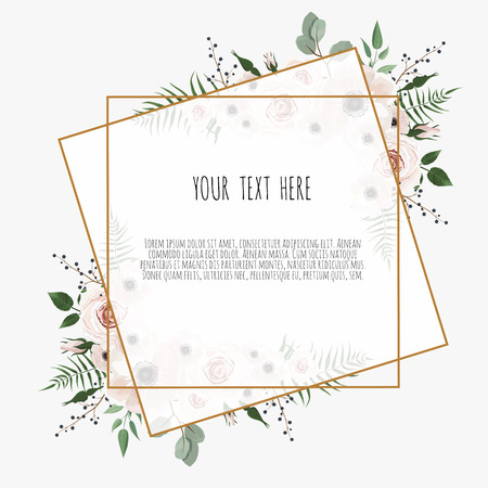 Illustration pour card with leaves and geometrical frame. Floral poster. Floral poster, invite. Vector decorative greeting card, invitation design background. - image libre de droit