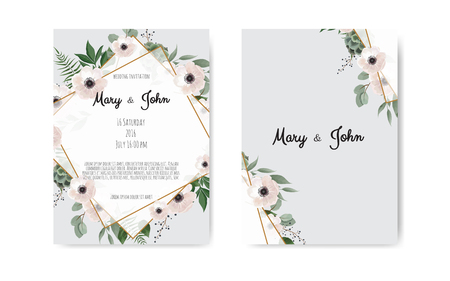 Foto de Wedding invite, invitation. Botanical wedding invitation card template design, white and pink flowers. Vector template set - Imagen libre de derechos