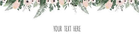 Illustration pour Horisontal botanical vector design banner. Pink rose, eucalyptus, succulents, flowers, greenery. Natural spring card or frame. - image libre de droit