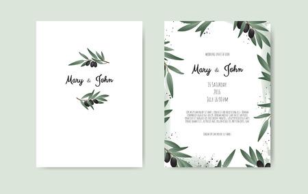 Illustration pour Botanical wedding invitation card template design with Olive branch. - image libre de droit