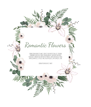 Illustration pour Floral Greeting Card with Blooming orchid and garden flowers. - image libre de droit