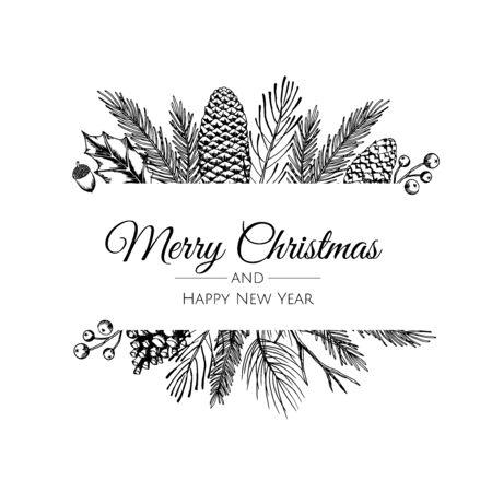 Illustration pour Christmas frame with winter plants. Botanical illustration. - image libre de droit