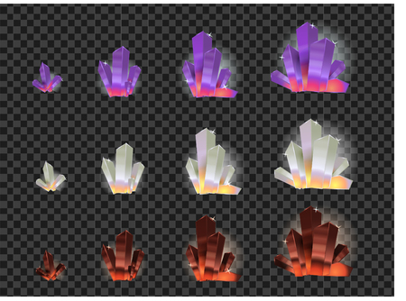Vector set of glass crystals isolated on a transparent background. Crystals evolution from small to large
