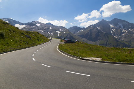 High Alpine Road in the mountains at the summer of bright summer cloudy day.Grossglockner High Alpine Road . Austria. Europe. Tourist destination, tourist attraction