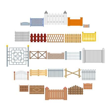 Illustration pour Fence country types icons set. Flat illustration of 25 fence vector icons for web - image libre de droit