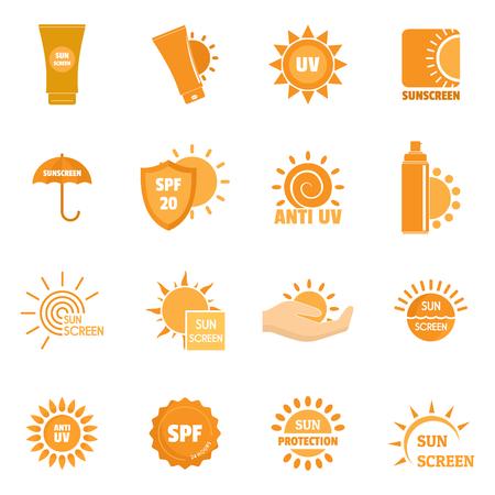 Ilustración de Sunscreen sun protection logo icons set. Flat illustration of 16 sunscreen sun protection logo vector icons for web - Imagen libre de derechos