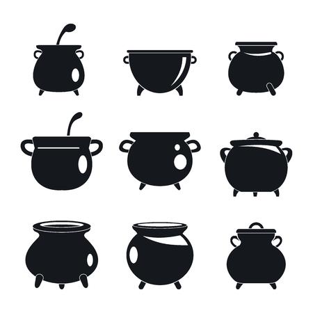 Ilustración de Cauldron pot kettle halloween icons set. Simple illustration of 9 cauldron pot kettle halloween vector icons for web - Imagen libre de derechos
