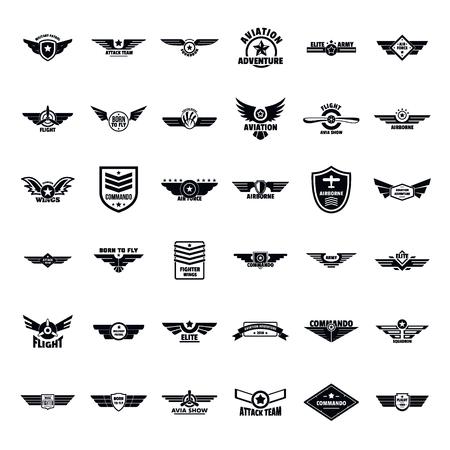 Illustration pour Airforce military army badge logo icons set. Simple illustration of 36 airforce military army badge logo vector icons for web - image libre de droit