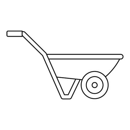 Illustration for Hand truck one wheel icon. Outline hand truck one wheel vector icon for web design isolated on white background - Royalty Free Image