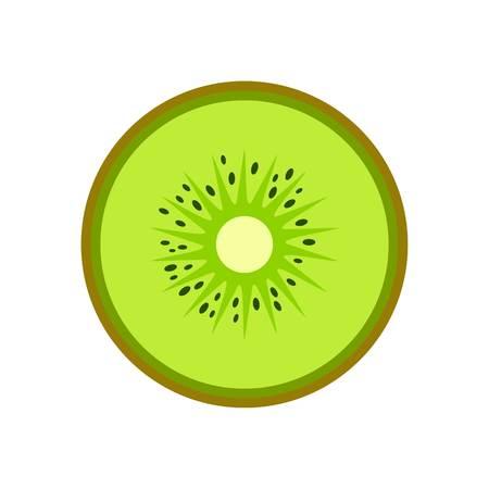 Illustration pour Half of kiwi icon. Flat illustration of half of kiwi vector icon for web isolated on white - image libre de droit