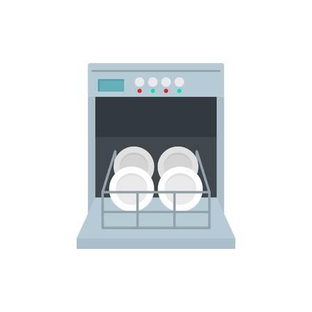 Open dishwasher icon, flat style