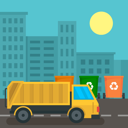 Illustration for Garbage truck in city concept background. Flat illustration of garbage truck in city vector concept background for web design - Royalty Free Image