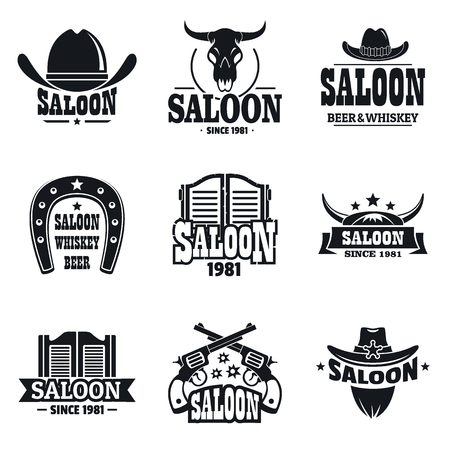 Illustration for Saloon set, simple style - Royalty Free Image