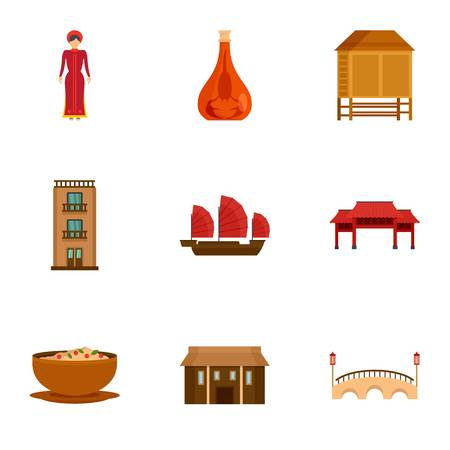 Vietnam attraction icon set. Flat set of 9 vietnam attraction vector icons for web design