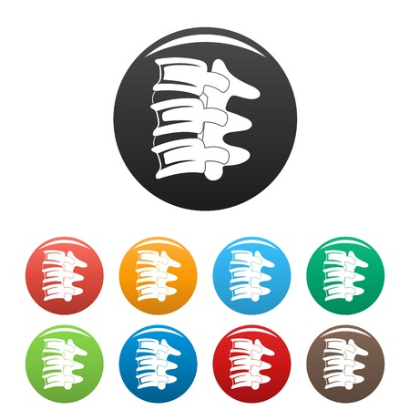 Spinal column discs icons set color