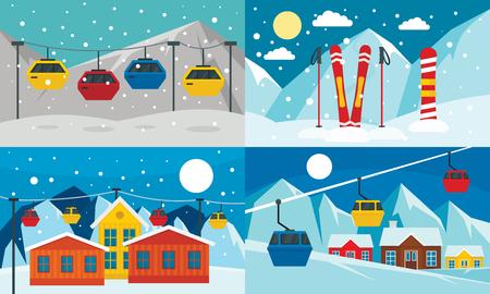 Ski resort banner set. Flat illustration of ski resort vector banner set for web design