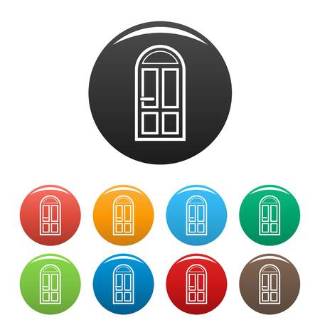 House door icons set 9 color vector isolated on white for any design
