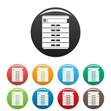 Illustration pour photocopier icons set color - image libre de droit